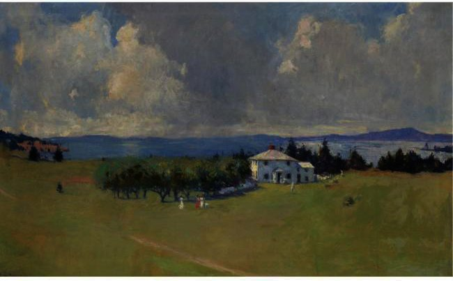 famous painting Wooster Farm (The Farm At North Haven) of Frank Weston Benson