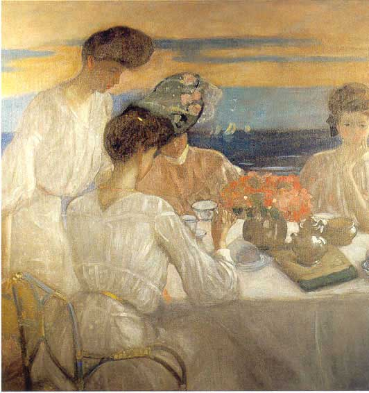 famous painting Afternoon Tea on the Terrace of Frederick Carl Frieseke