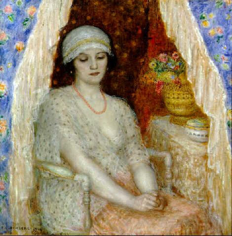 famous painting Blue Curtains of Frederick Carl Frieseke