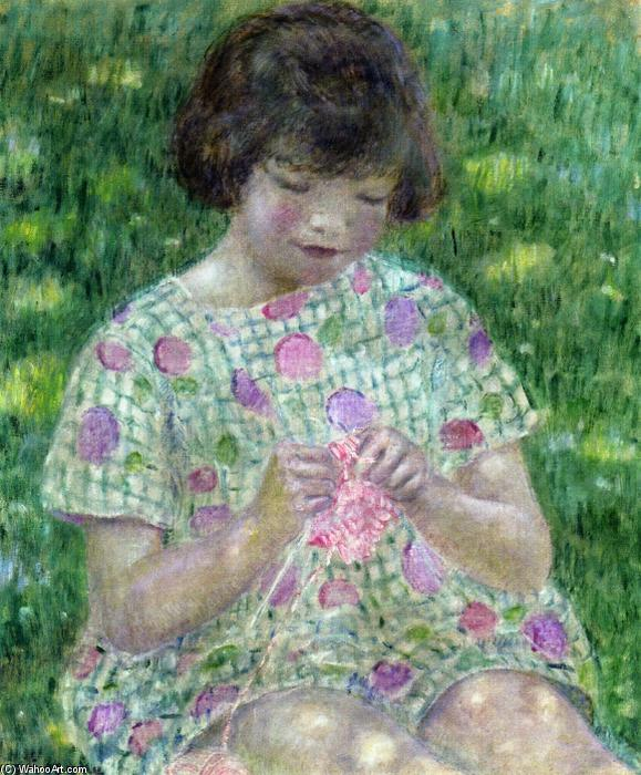 famous painting Child Knitting of Frederick Carl Frieseke