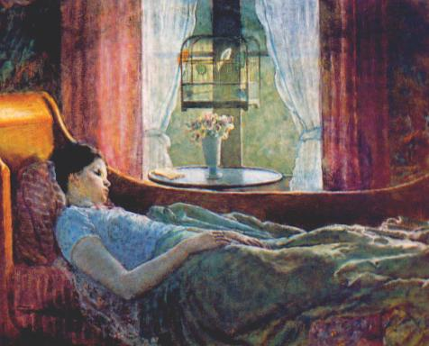 famous painting Girl in Bed of Frederick Carl Frieseke
