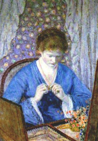 famous painting Girl in Blue of Frederick Carl Frieseke