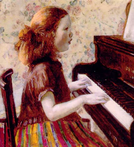 famous painting Girl on the Piano of Frederick Carl Frieseke