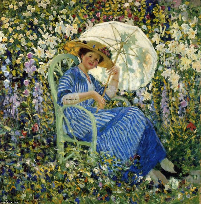 famous painting In The Garden, Giverny of Frederick Carl Frieseke