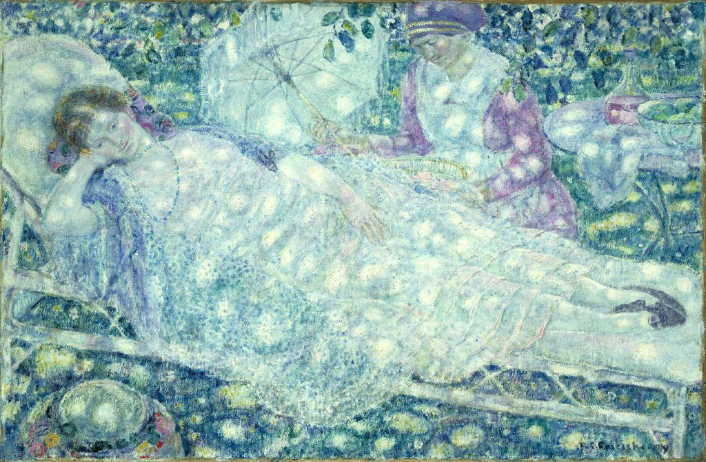 famous painting La Chaise Longue of Frederick Carl Frieseke