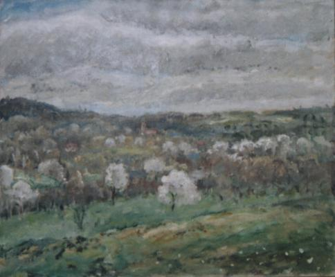 famous painting Mesnil Landscape of Frederick Carl Frieseke