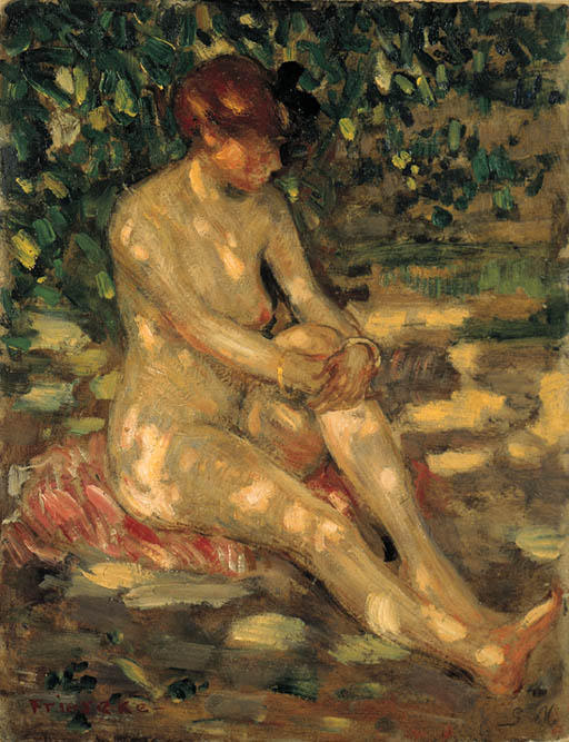 famous painting Nude in Dappled Sunlight of Frederick Carl Frieseke