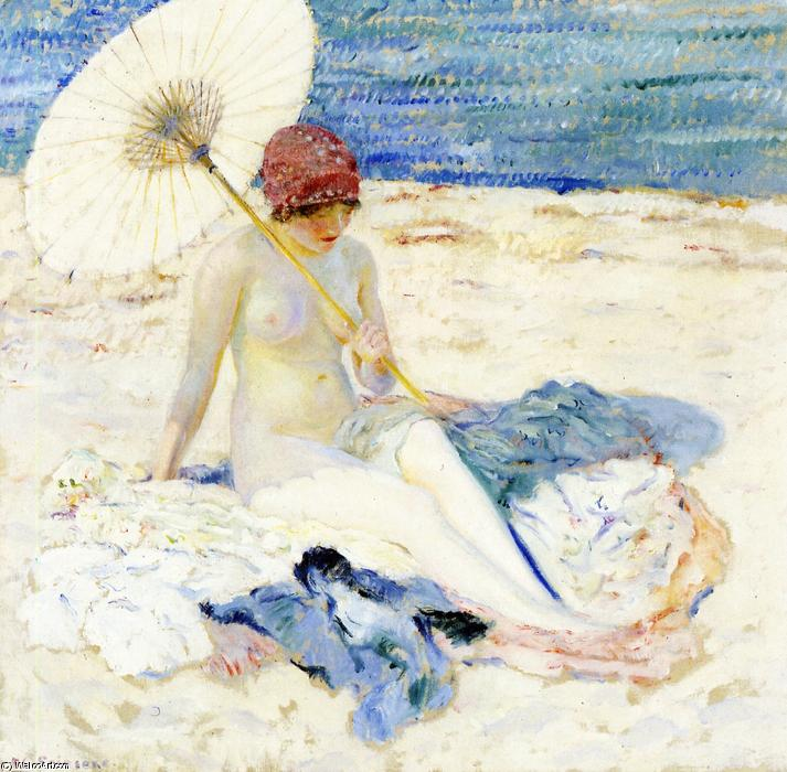 famous painting On The Beach of Frederick Carl Frieseke