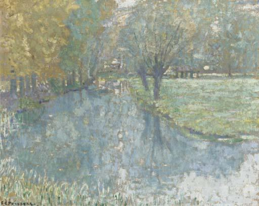 famous painting On the River, Giverny of Frederick Carl Frieseke