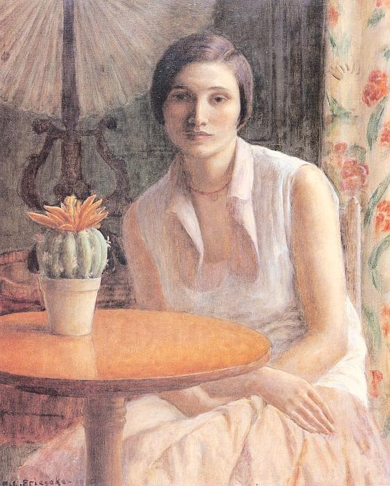 famous painting Portrait of a Woman with a Cactus of Frederick Carl Frieseke
