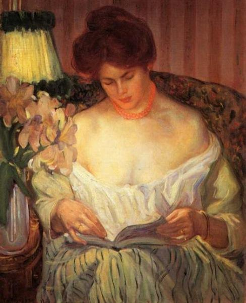 famous painting Reading by Lamp Light of Frederick Carl Frieseke