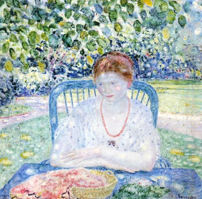 famous painting Sewing In The Garden of Frederick Carl Frieseke