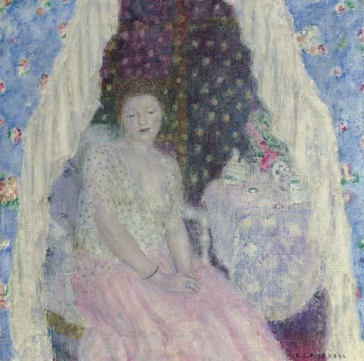 famous painting Study for Blue Curtains of Frederick Carl Frieseke