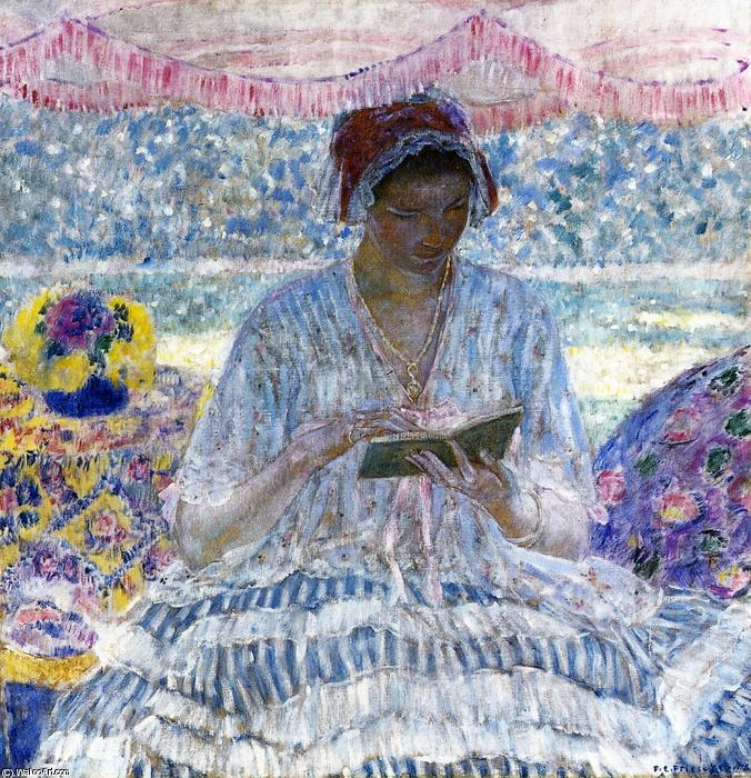 famous painting Summer Reading (Aka Under The Awning) of Frederick Carl Frieseke