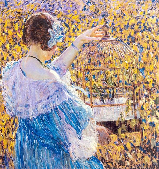 famous painting The Birdcage of Frederick Carl Frieseke