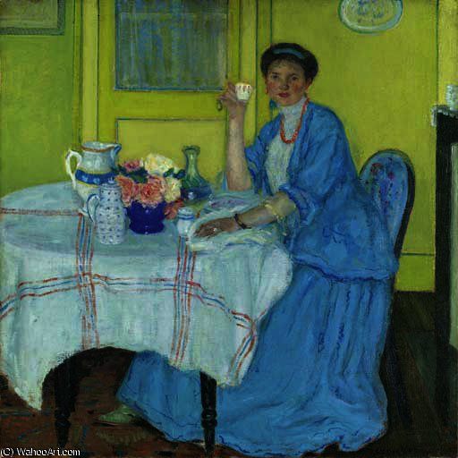 famous painting The Breakfast Room of Frederick Carl Frieseke