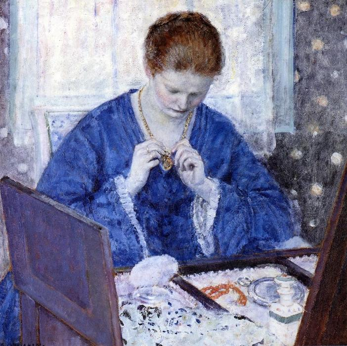 famous painting The Gold Locket of Frederick Carl Frieseke