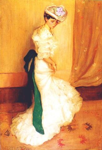 famous painting The Green Sash of Frederick Carl Frieseke