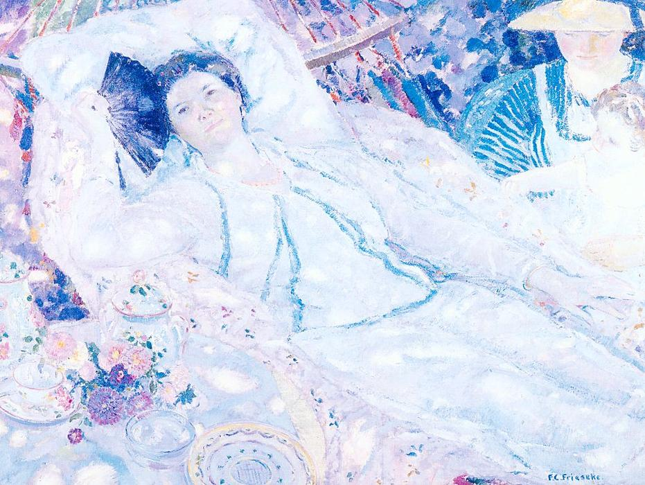 famous painting The Hammock of Frederick Carl Frieseke