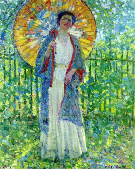 famous painting The Japanese Parasol of Frederick Carl Frieseke
