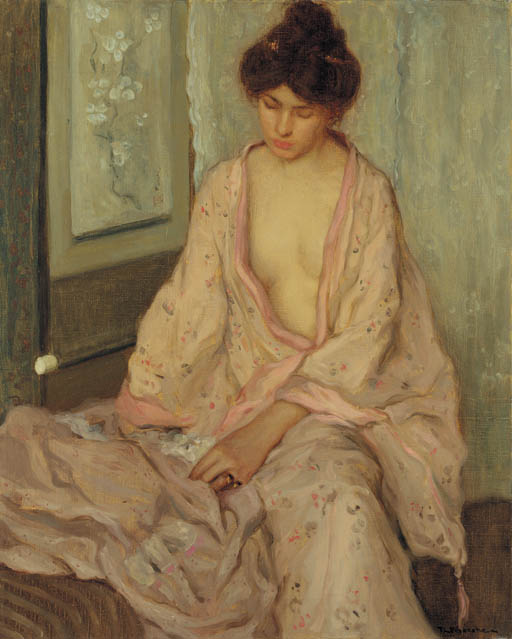 famous painting The Pink Kimono 1 of Frederick Carl Frieseke