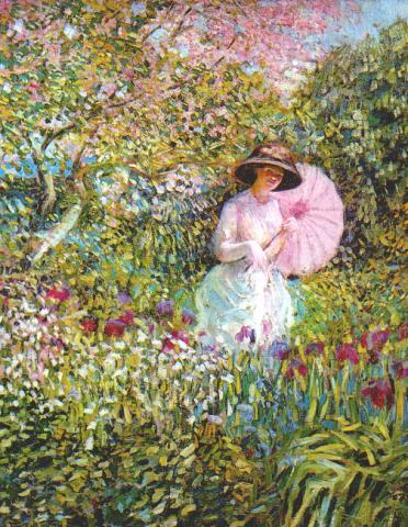 famous painting The Pink Parasol of Frederick Carl Frieseke