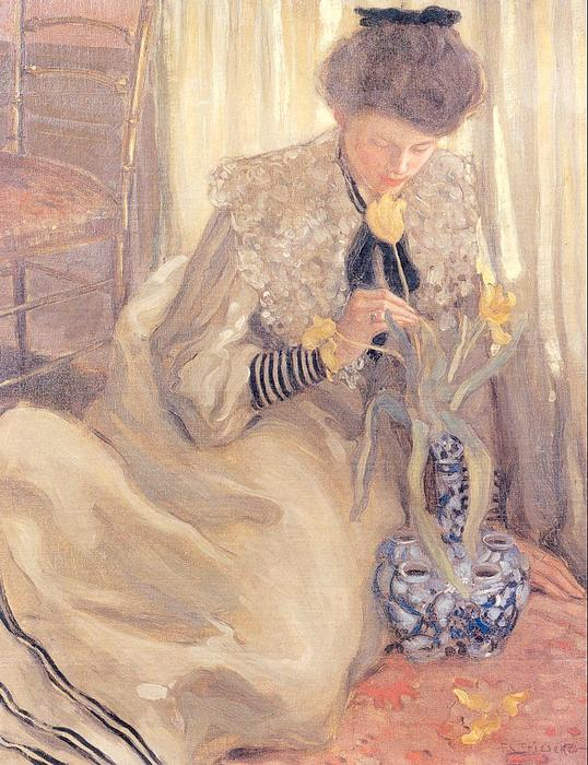 famous painting The Yellow Tulip of Frederick Carl Frieseke