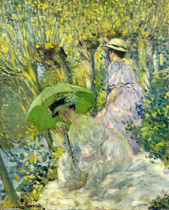 famous painting Two Young Women In A Garden of Frederick Carl Frieseke