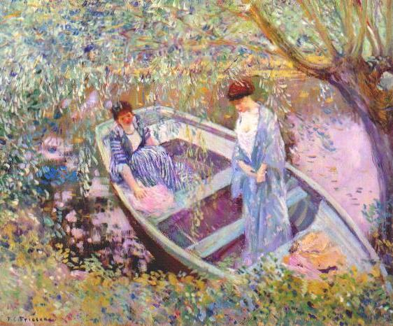 famous painting Under the Willows of Frederick Carl Frieseke