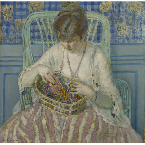 famous painting Unraveling Silk of Frederick Carl Frieseke