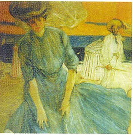 famous painting Windy Day at the Beach of Frederick Carl Frieseke