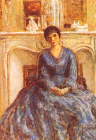 famous painting Woman in Blue of Frederick Carl Frieseke