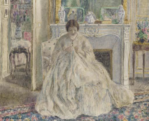 famous painting Woman Seated by a Fireplace of Frederick Carl Frieseke