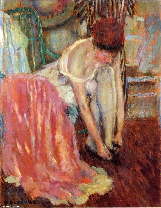 famous painting Woman Tying Her Shoe of Frederick Carl Frieseke