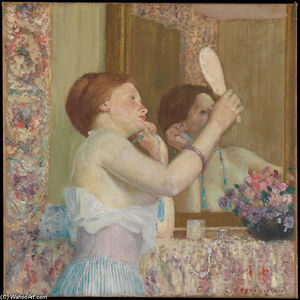 Frederick Carl Frieseke - Woman with a Mirror