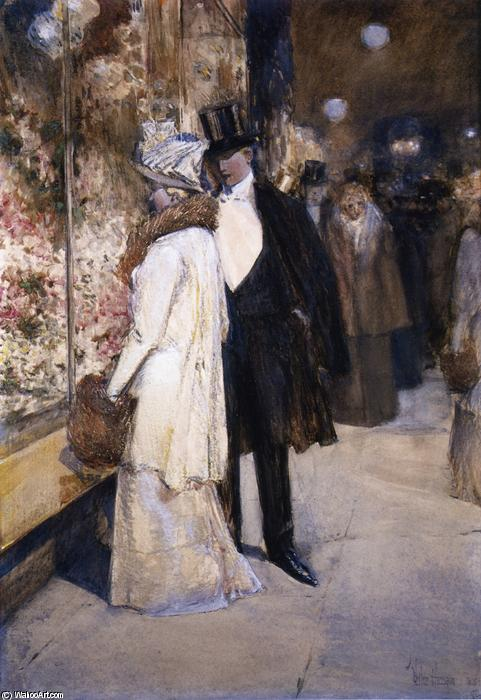 famous painting A New Year's Nocturne, New York of Frederick Childe Hassam