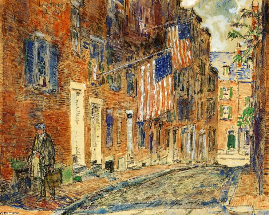 famous painting Acorn Street, Boston of Frederick Childe Hassam