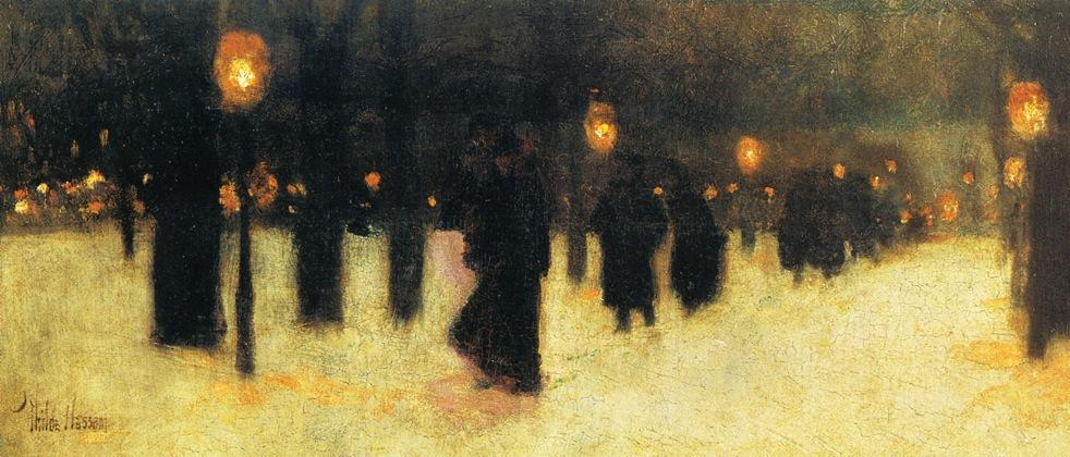 famous painting Across the Common on a Winter Evening of Frederick Childe Hassam