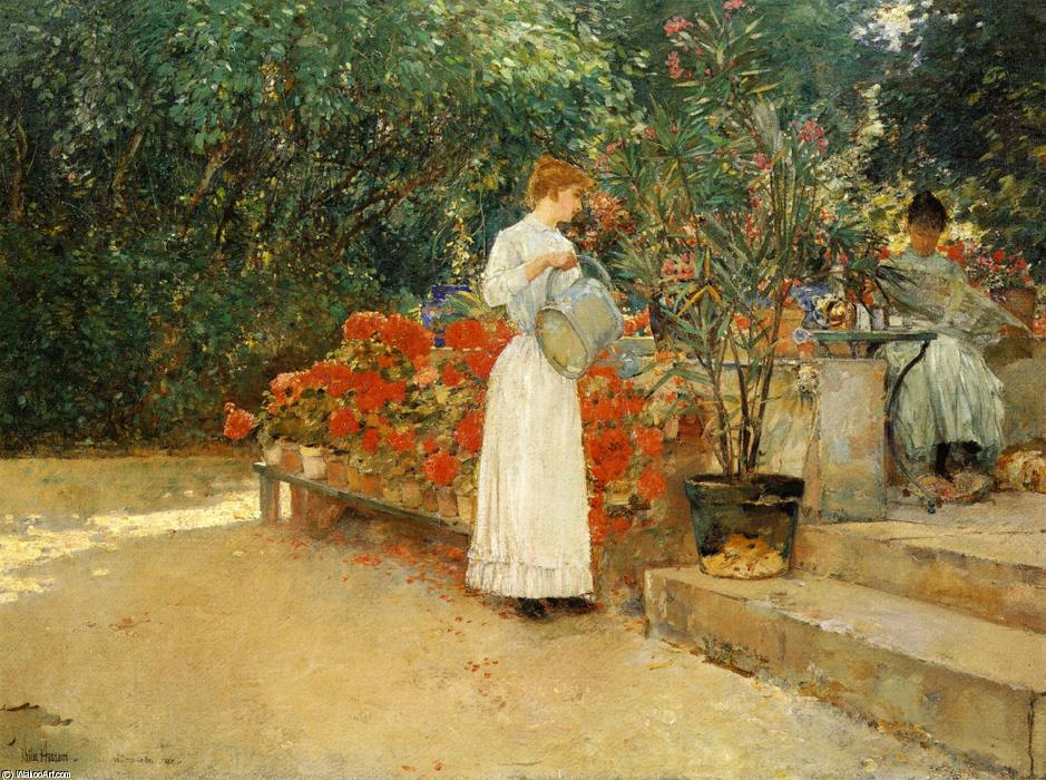famous painting After Breakfast of Frederick Childe Hassam