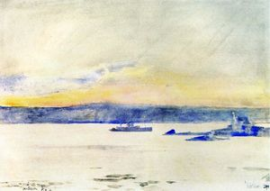 Frederick Childe Hassam - Afterglow, Gloucester Harbor (aka Ten Pound Island LIght)