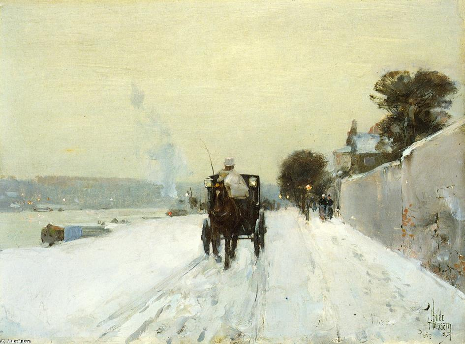 famous painting Along the Seine of Frederick Childe Hassam