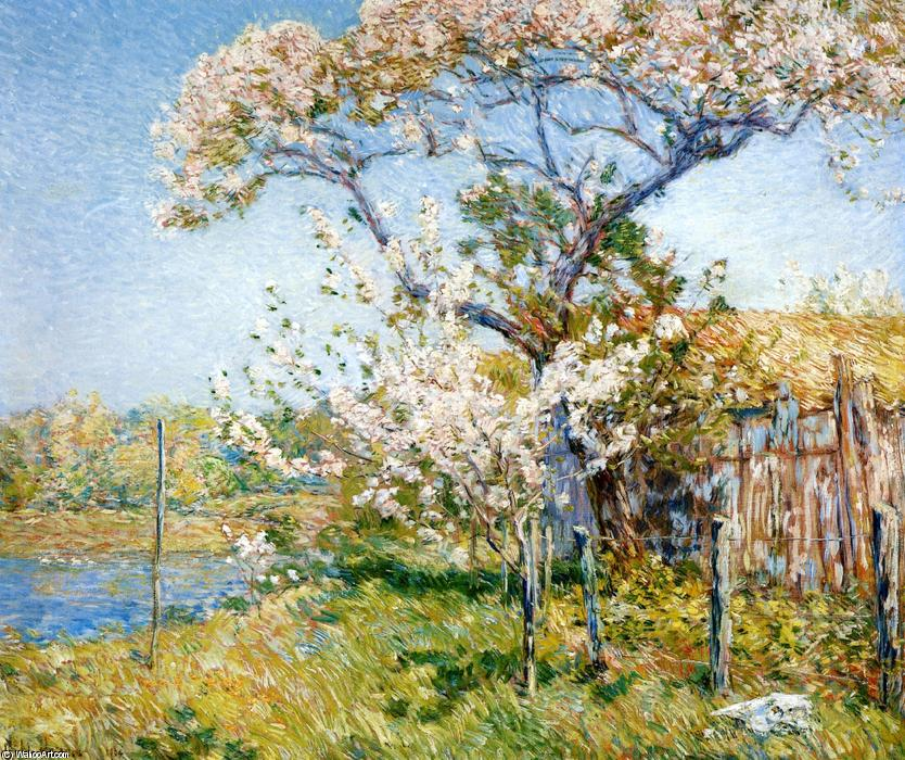 famous painting Apple Trees in Bloom, Old Lyme of Frederick Childe Hassam