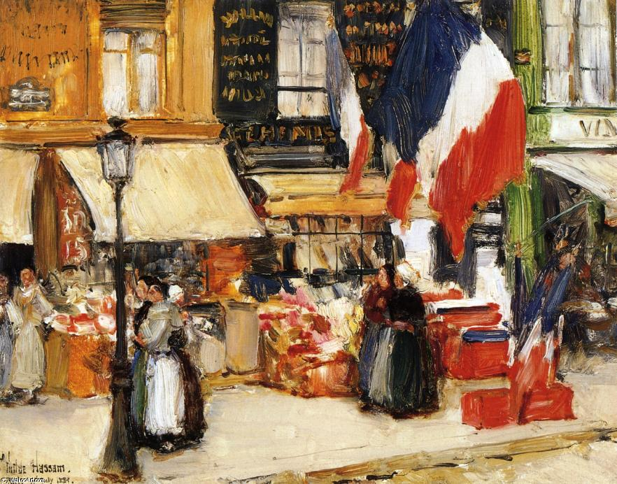 famous painting Bastille Day, Boulevard Rochechouart, Paris of Frederick Childe Hassam