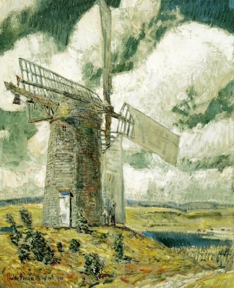 famous painting Bending Sail on the Old Mill of Frederick Childe Hassam