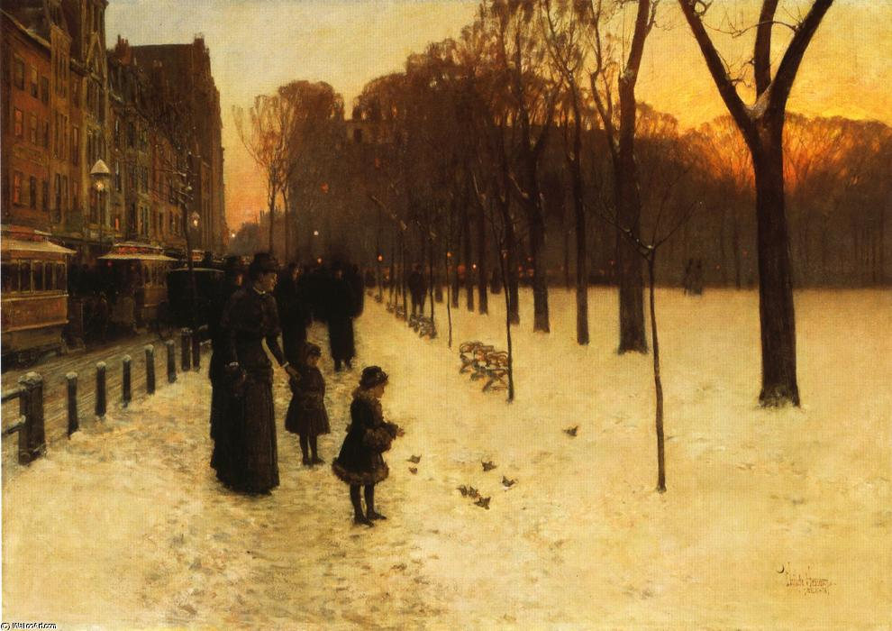 famous painting Boston Common at Twilight of Frederick Childe Hassam