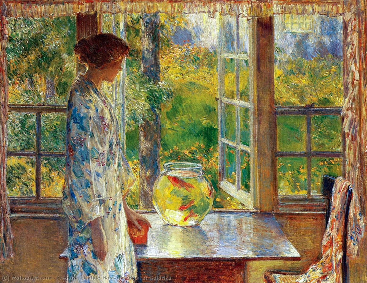 famous painting Bowl of Goldfish of Frederick Childe Hassam