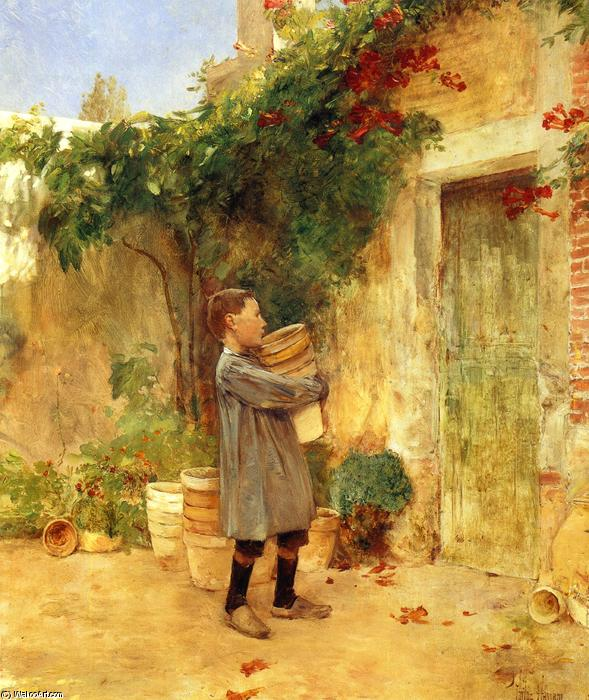 famous painting Boy with Flower Pots of Frederick Childe Hassam