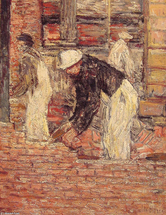 famous painting Bricklayers of Frederick Childe Hassam