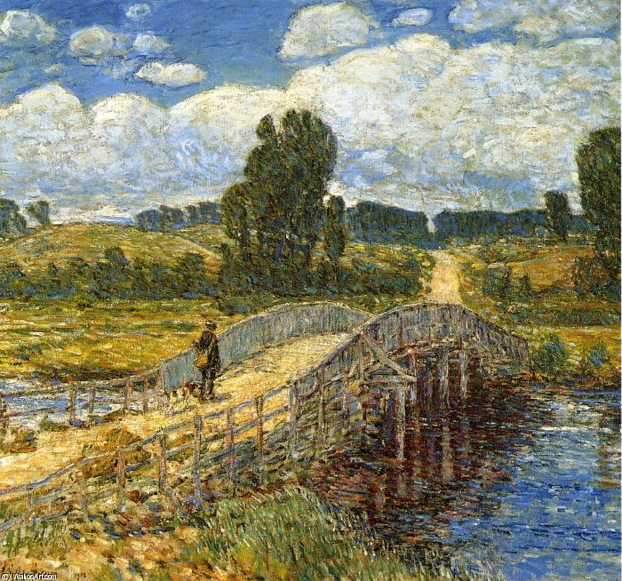 famous painting Bridge at Old Lyme of Frederick Childe Hassam