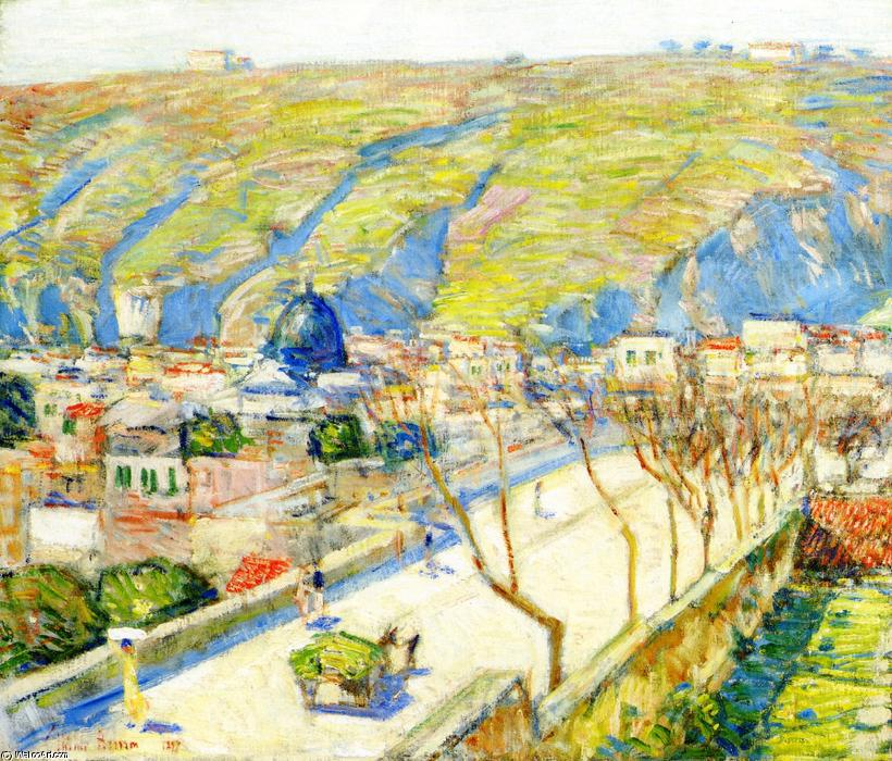 famous painting Bridge at Posilippo, Naples of Frederick Childe Hassam